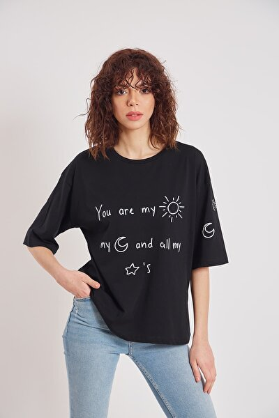 Kadın Siyah Oversize You're My Sun Yazı Baskılı T-shirt
