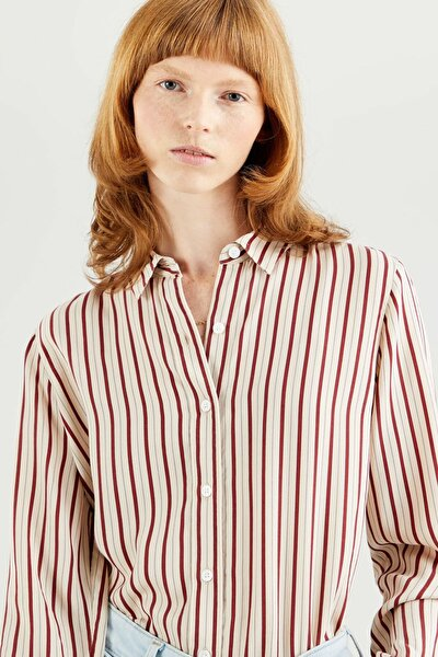 The Classic Erica Printed Stripe Çok Renkli Kadın Gömlek