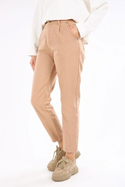 Kadın Deve Tüyü Mom Pileli Pamuk Pantolon