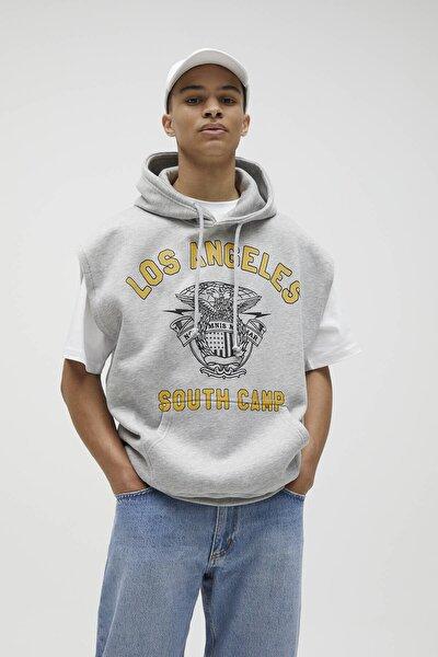 Erkek Melanj Gri Gri Baskılı Penye Kolsuz Sweatshirt 04592535