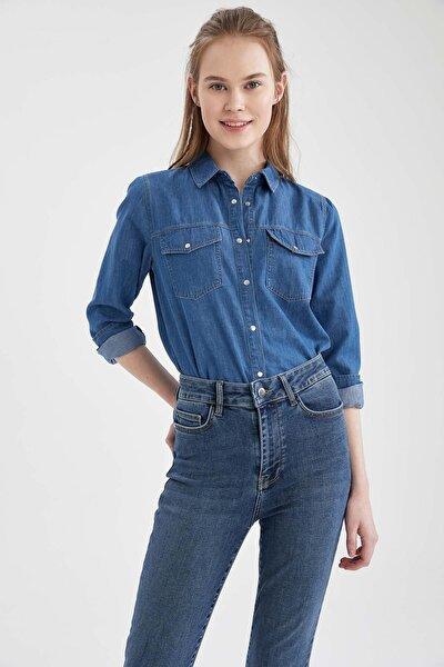 Kadın Mavi Uzun Kollu 2 Cepli Jean Gömlek