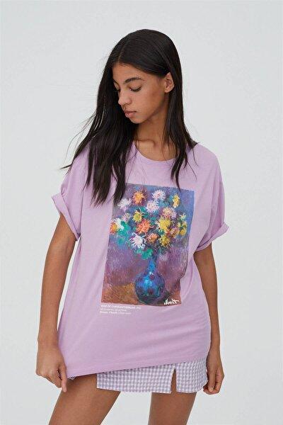 Kadın Leylak Rengi Monet Eseri Görselli T-shirt
