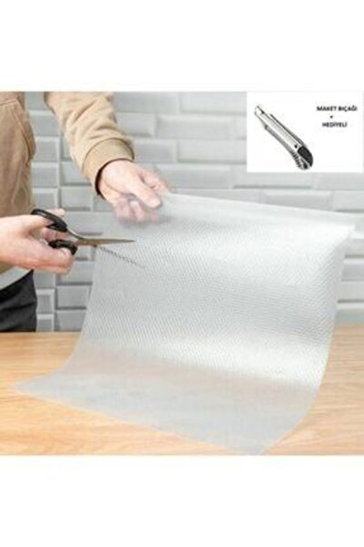 Depoevim Şeffaf Kaydırmaz Raf Dolap Ve Çekmece Örtüsü 45 Cm X 10 Metre Ve Maket Bıçağı