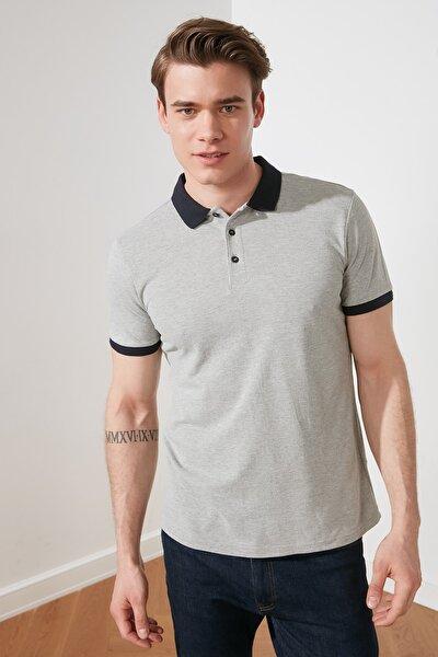Gri Erkek Slim Fit Kontrast Detaylı Polo Yaka T-shirt TMNSS20PO0011