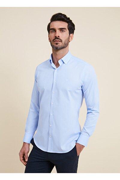 Erkek Mavi Regular Fit Düz Spor Gömlek