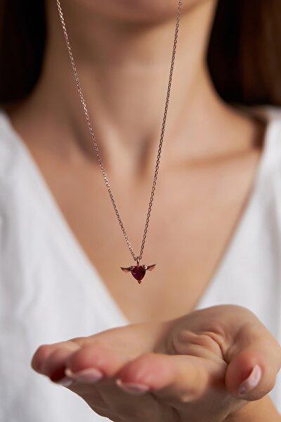 Ninova Kanatlı Kalp Model Yakut Taşlı Rose Kaplama Gümüş Kolye