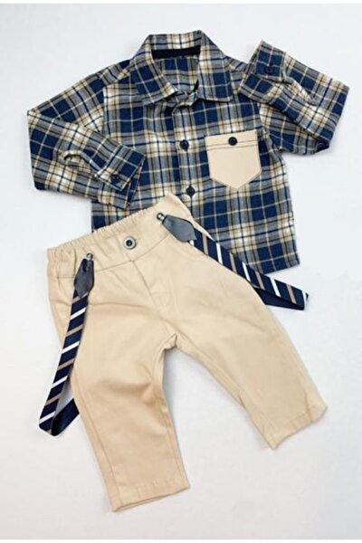 Erkek Bebek Bej Cepli Tarz Gömlek Alt Üst Takım