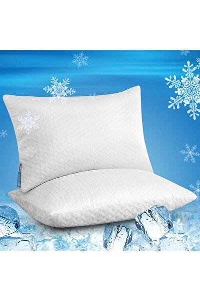 Yastık Visco Uyku Yastığı Pamuklu Visko Destek Yatış Minderi Visco Kırpıntı Parçacıklı Dolgu 2 Adet