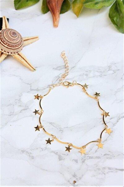 Gold Kaplama Yıldız Motifli Halhal