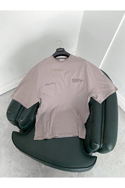 Erkek Gri Yazılı T-shirt