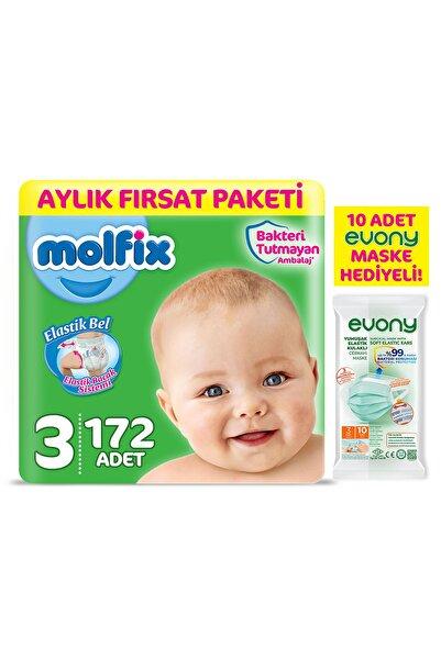 Bebek Bezi 3 Beden Midi Aylık Fırsat Paketi 172 Adet + Maske 10lu Hediye