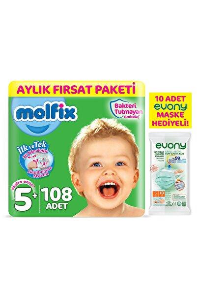 Bebek Bezi 5+ Beden Junior Plus Aylık Fırsat Paketi 108 Adet + Maske 10lu Hediye