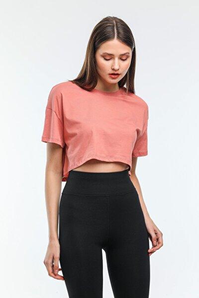 Nairobi Kadın Basic Bisiklet Yaka Crop Top Tişört Kadın Soğan Rengi Crop Tişört Kadın Tişört