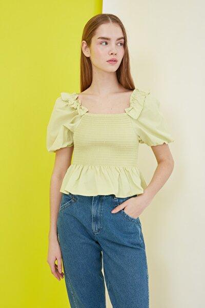 Sarı Balon Kollu Ve Gipeli Bluz TWOSS21BZ0226