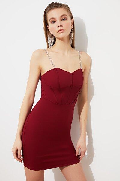 Bordo Zincir Askılı  Elbise TPRSS21EL2041