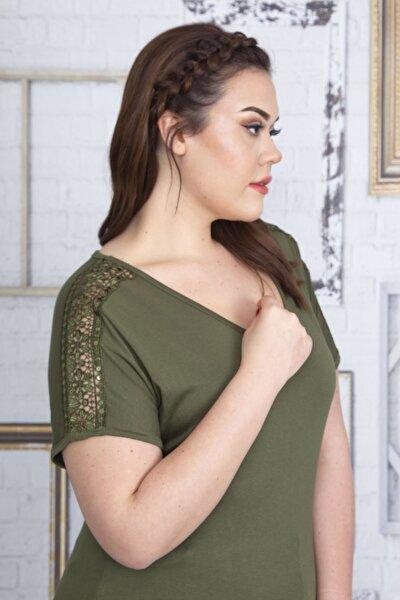 Kadın Haki Dantel Detaylı  V Yakalı Viskon Bluz 65N22728
