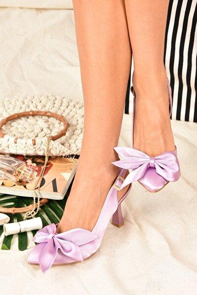 Kadın Lila Saten Kumaş Topuklu Ayakkabı K922164804