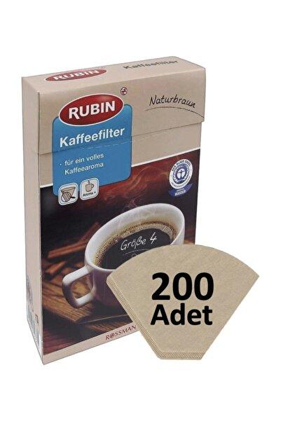 Kahve Filtresi 4 Numara Büyük Boy  Naturel Kağıt 200 Adet