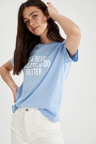 Kadın Mavi Slogan Baskılı Pamuklu Relax Fit Kısa Kollu Tişört