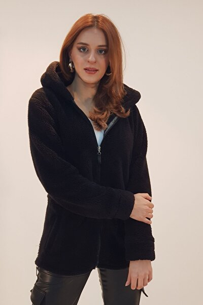 Well Soft Fermuar Detaylı Peluş Siyah Ceket
