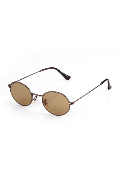 Ae3547yc5b4571 Kahverengi Mat Cam Kahverengi Yuvarlak Çerçeve Unısex Güneş Gözlüğü