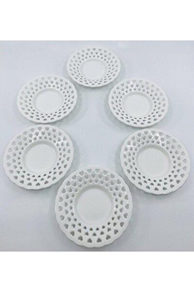 Lüks 6 Lı Kalpli Çay Tabağı Plastik Porselen Görünümlü