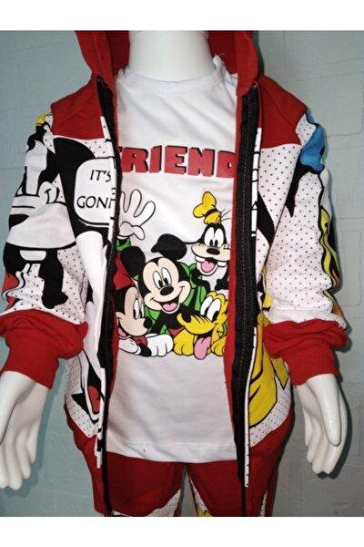 Çocuk Kırmızı Mickey Mause Ve Arkadaşları Baskılı 3 Lü Takım
