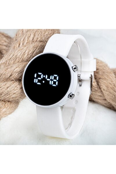 Unisex Beyaz Silikon Kordonlu Led Dijital Kol Saati St-303702