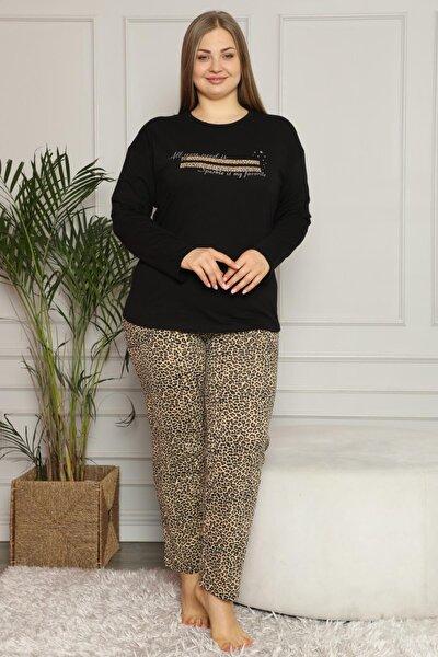 Sparkle Baskılı Uzun Kol Büyük Beden Battal Pijama