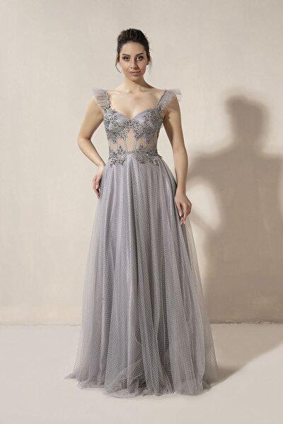 Kadın Gri Tül Elbise 5045tl