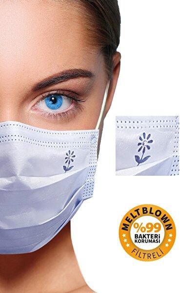 Diamond Blue 3 Katlı Meltblown Filtreli 50 Adet (ÇİÇEK LOGOLU) Kokusuz Cerrahi Yüz Maskesi