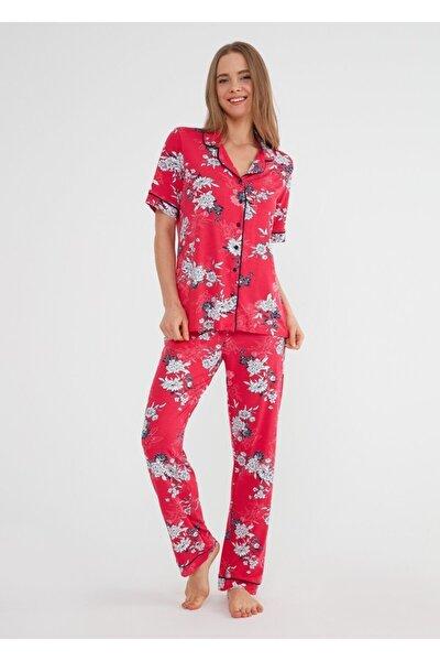 Kadın Kirmizi Baskili Felicity Maskulen Pijama Takımı