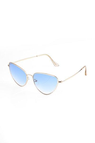Aek006c1b4405-1 Mavi Degrade Cam Cat Eye Sarı Çerçeve Kadın Güneş Gözlüğü