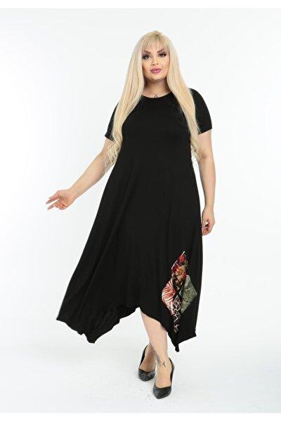 Kadın Siyah Asimetrik Kesim Yama Detaylı Kısa Kollu Viskon Büyük Beden Elbise