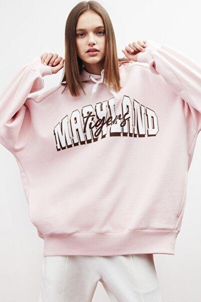 TINA Kadın Pembe Önü Baskılı Extra Oversize Kapüşonlu Sweatshirt