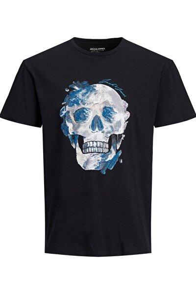 Erkek Kuru Kafa Baskılı Siyah T-shirt - 12185197