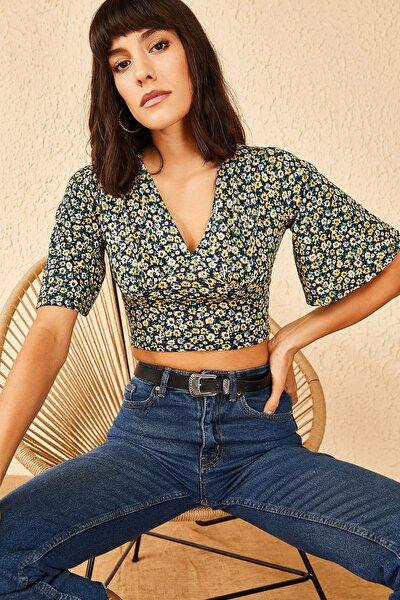 Kadın Göğüs Büzgülü Kaşkorse Crop Bluz