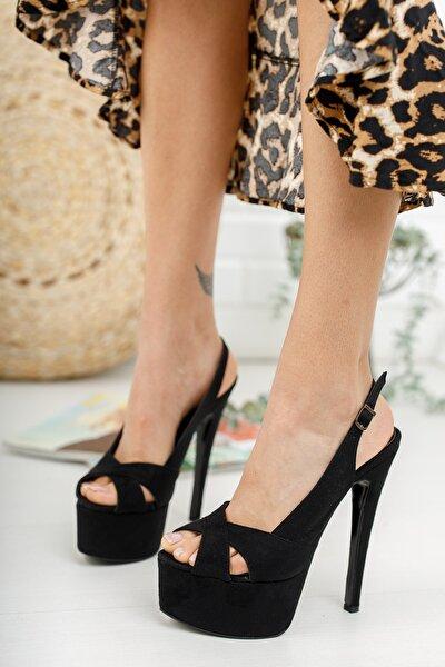 Kadın Siyah Süet Yandan Ayarlanabilir 15cm Ince Yüksek Topuklu Ayakkabı