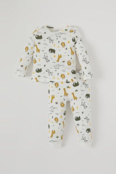 Erkek Bebek Sevimli Hayvan Baskılı Pamuklu Pijama Takımı
