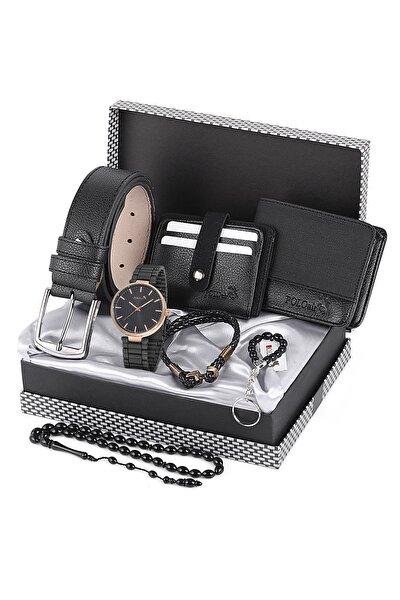 Erkek Siyah Kol Saati ve Cüzdan Kartlık Kemer Anahtarlık Bileklik Set Pl-0464e1