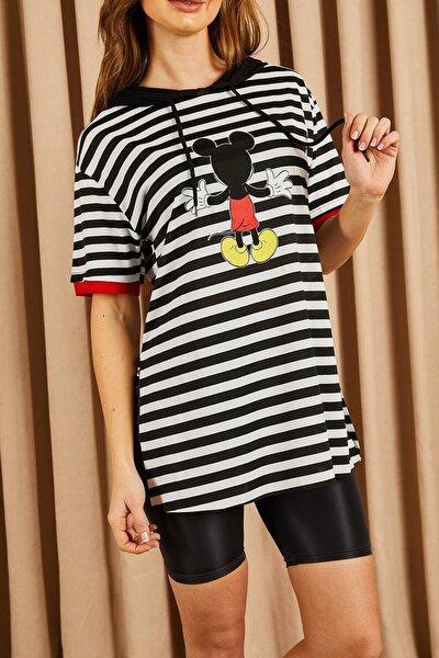 Çizgili Mickey Baskılı Tshirt Siyah
