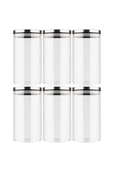 Metal Kapaklı Borosilikat Cam Kavanoz Baharatlık Saklama Kabı Vakumlu Borcam 6 Lı Set 1300 ml