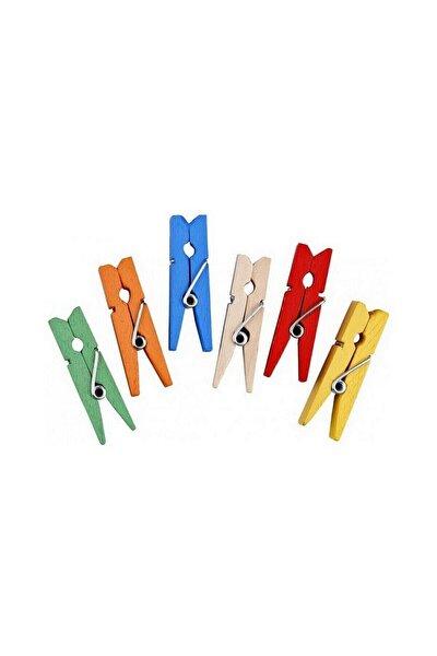 25 Adet Mini Mandal Minik Mandal Dekoratif Süsleme Renkli Mini Ahşap Mandal