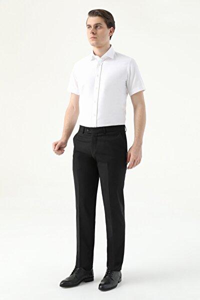 Slim Fit Siyah Düz Kumaş Pantolon