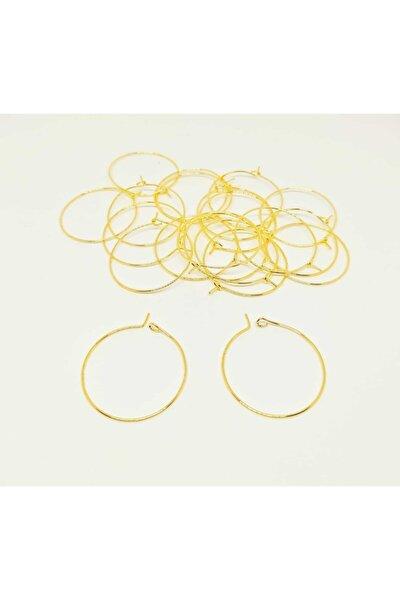 10 Çift Gold Renk Küpe Halkası Aparatı 30 Mm