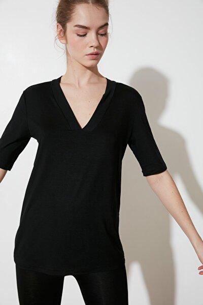Siyah Truvakar Kol Örme Bluz TWOSS21BZ0391