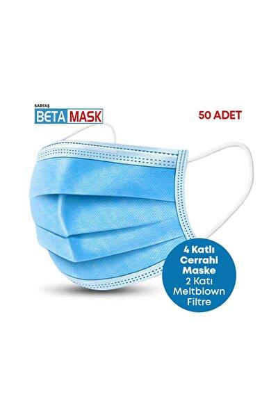 Mavi ÜTS Kayıtlı 4 Katlı  Meltblown Filtre Cerrahi Maske 50 Adet