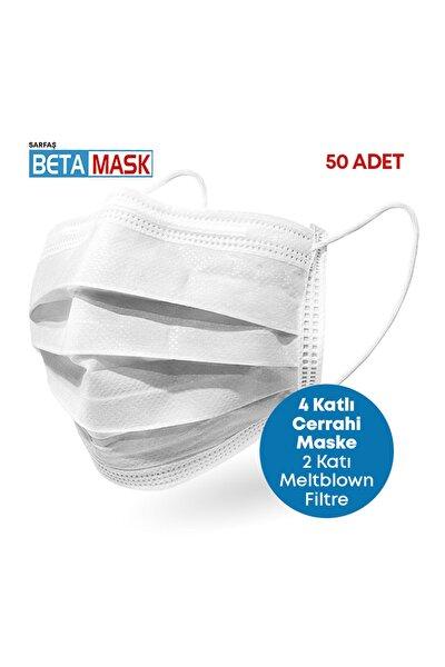 Beyaz ÜTS Kayıtlı 4 Katlı  Meltblown Filtre Cerrahi Maske 50 Adet