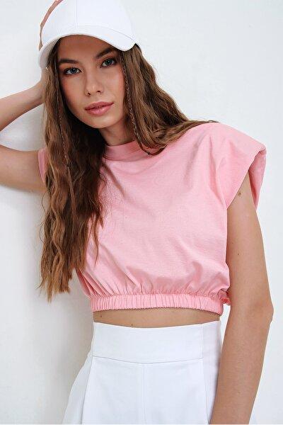 Kadın Pudra Pembesi Omuz Vatkalı Beli Lastikli Crop T-Shirt ALC-X5800