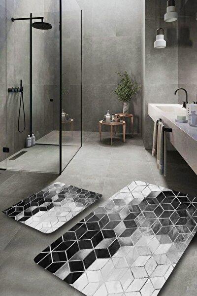 Silver Modern Yıkanabilir 2li Banyo Halısı Paspas Klozet Takımı